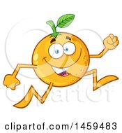 Clipart Of A Navel Orange Fruit Mascot Character Running Royalty Free Vector Illustration
