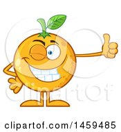 Clipart Of A Navel Orange Fruit Mascot Character Winking And Giving A Thumb Up Royalty Free Vector Illustration by Hit Toon