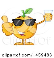 Clipart Of A Navel Orange Fruit Mascot Character Wearing Sunglasses Giving A Thumb Up And Holding A Glass Of Juice Royalty Free Vector Illustration