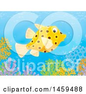 Clipart Of A Puffer Fish Over A Coral Reef Royalty Free Illustration