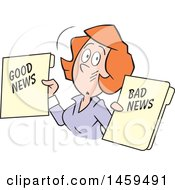 Clipart Of A Red Haired Caucasian Business Woman Holding Good News And Bad News Files Royalty Free Vector Illustration