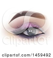 Womans Eye With Glittery Shadow