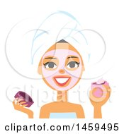 Clipart Of A Spa Woman Applying A Pink Mask Or Cream To Her Face Royalty Free Vector Illustration