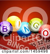 3d Bingo Balls Over Cards On Red