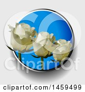 Trio Of 3d White Roses In A Blue Circle On A Shaded Background