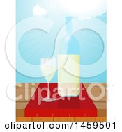 Clipart Of A Wine Bottle And Glass On A Table Against A Sunny Blue Sky Royalty Free Vector Illustration