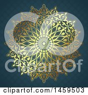 Clipart Of A Golden Mandala And Blue Pattern Background Royalty Free Vector Illustration