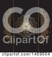 Clipart Of Golden Mandala Panels And Black Background Royalty Free Vector Illustration