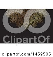 Clipart Of A Black And Gold Mandala Business Card Or Background Royalty Free Vector Illustration