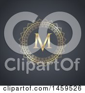 Clipart Of A Golden Frame And Letter M Royalty Free Vector Illustration by KJ Pargeter