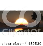 Poster, Art Print Of 3d Silhouetted Woman Doing Yoga On A Tropical Beach At Sunset