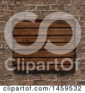 Clipart Of A 3d Blank Wooden Sign On A Brick Wall Royalty Free Illustration by KJ Pargeter