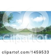 Clipart Of A 3d Lake Background Royalty Free Illustration