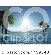 3d Landscape Of A Tropical Bay And Sun Flares