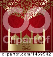 Clipart Of A Golden Floral Design And Red Damask Pattern With A Mosque And Eid Mubarak Text Royalty Free Vector Illustration by KJ Pargeter