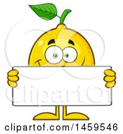 Happy Lemon Mascot Character Holding A Blank Sign