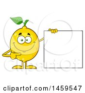 Happy Lemon Mascot Character Pointing To A Blank Sign
