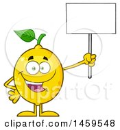 Happy Lemon Mascot Character Holding Up A Blank Sign