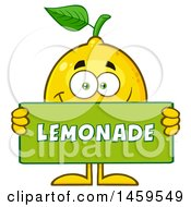 Clipart Of A Happy Lemon Mascot Character Holding A Lemonade Sign Royalty Free Vector Illustration
