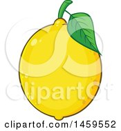Clipart Of A Yellow Lemon Fruit And Leaf Royalty Free Vector Illustration