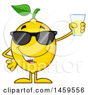 Happy Lemon Mascot Character Holding Up A Glass Of Lemonade