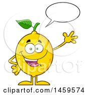 Clipart Of A Happy Lemon Mascot Character Talking And Waving Royalty Free Vector Illustration by Hit Toon