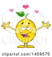 Clipart Of A Loving Lemon Mascot Character With Open Arms Royalty Free Vector Illustration by Hit Toon