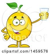 Poster, Art Print Of Happy Lemon Mascot Character Holding A Glass Of Lemonade