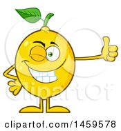 Clipart Of A Happy Lemon Mascot Character Winking And Giving A Thumb Up Royalty Free Vector Illustration by Hit Toon