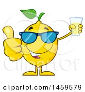 Poster, Art Print Of Happy Lemon Mascot Character Giving A Thumb Up And Holding A Glass Of Lemonade