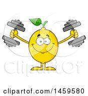 Clipart Of A Happy Lemon Mascot Character Working Out With Dumbbells Royalty Free Vector Illustration by Hit Toon
