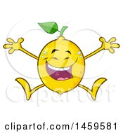 Clipart Of A Happy Lemon Mascot Character Laughing And Jumping Royalty Free Vector Illustration by Hit Toon