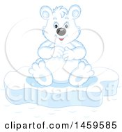 Clipart Of A Happy Polar Bear Sitting On Ice Royalty Free Vector Illustration by Alex Bannykh