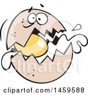 Clipart Of A Cartoon Panicking Egg Cracking Royalty Free Vector Illustration