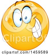 Clipart Of A Nervous Yellow Emoji Smiley Face Royalty Free Vector Illustration