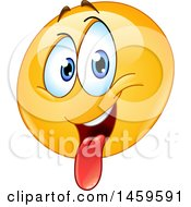 Clipart Of A Goofy Yellow Emoji Smiley Face Sticking His Tongue Out Royalty Free Vector Illustration