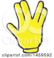 Clipart Of A Yellow Pop Art Styled Hand Forming A V Royalty Free Vector Illustration