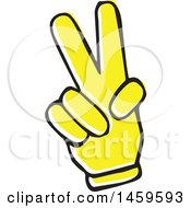 Clipart Of A Yellow Pop Art Styled Hand Forming A V Or Peace Sign Royalty Free Vector Illustration