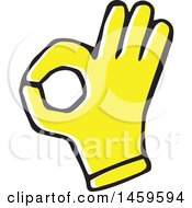 Clipart Of A Yellow Pop Art Styled Hand Gesturing Okay Royalty Free Vector Illustration