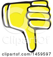 Clipart Of A Yellow Pop Art Styled Hand Giving A Thumb Down Royalty Free Vector Illustration