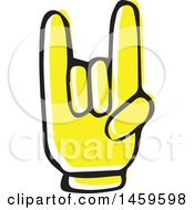 Clipart Of A Yellow Pop Art Styled Hand Rock And Roll Royalty Free Vector Illustration