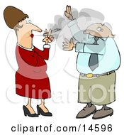 Businessman Lifting His Arms To Shield His Face From A Rude Womans Secondhand Smoke Who Is Smoking A Cigarette And Blowing It In His Face
