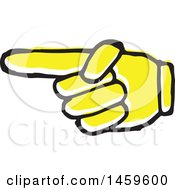 Clipart Of A Yellow Pop Art Styled Hand Pointing To The Left Royalty Free Vector Illustration