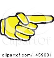 Clipart Of A Yellow Pop Art Styled Hand Pointing To The Right Royalty Free Vector Illustration