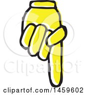 Clipart Of A Yellow Pop Art Styled Hand Pointing Down Royalty Free Vector Illustration