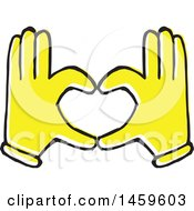 Clipart Of Yellow Pop Art Styled Hands Forming A Heart Royalty Free Vector Illustration