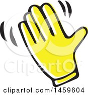 Clipart Of A Yellow Pop Art Styled Hand Waving Royalty Free Vector Illustration
