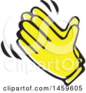 Clipart Of Yellow Pop Art Styled Hands Clapping Royalty Free Vector Illustration