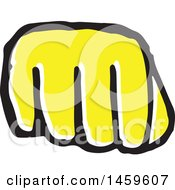 Clipart Of A Yellow Pop Art Styled Hand In A Fist Royalty Free Vector Illustration
