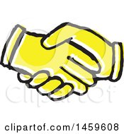 Poster, Art Print Of Yellow Pop Art Styled Hands Shaking